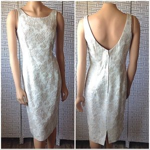 Marie St. Claire Floral Brocade Champagne Dress